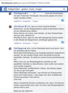 """Screenshot aus einem Thread der Facebook-Gruppe """"Heiligenhafen - gestern, heute, morgen"""", in der in Zusammenhang mit dem anlaufenden Bürgerbegehren über das von der SPD verbreitete """"niedliches-Kinderschwimmen-im-Hallenbad""""-Video und dessen vom Thema der Steinwarder-Bebauung ablenkender Intention diskutiert wurde."""